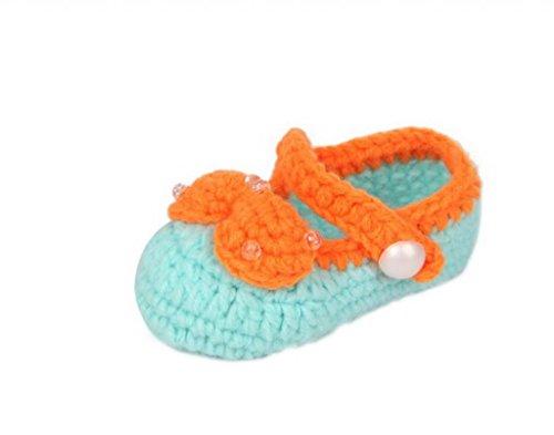 Smile YKK 0-12 mois Bébé Chaussure Tricot Aimable Avec Nœud Papillon Chaud Souple Pantoufles A la main Vert