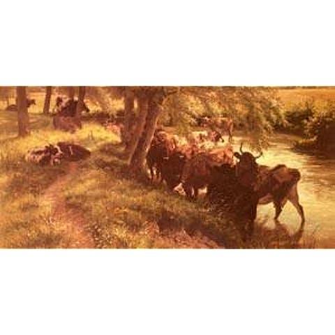 GFM Painting - Riproduzione fatta a mano di Pittura ad Olio. Soggetto:A Shady Spot On A Summers Day,Pittura ad Olio di Henry William Banks Davis - 72 By 96 pollici