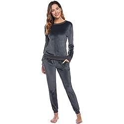 Abollria Survêtement Femme Ensembles Sportswear Sweat Capuche Suit Pull Casual Jogging Pyjama d'intérieur Tenue Manches Longues Pantalon Joggers Confortable,Gris,XXL