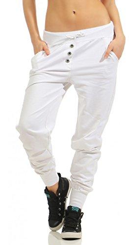Damen Freizeithose Sporthose Sweat Pants lang (623), Grösse:S / 36, Farbe:Weiß (Jogginghose Für Weiße Sporthose / Frauen)