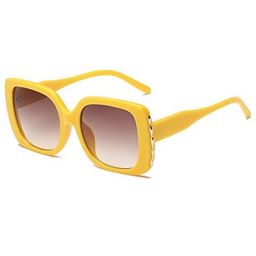 ZHAS High-End-Brille Frauen übergroße Sonnenbrille Gradient Sun Glasees Damen Vintage Big Frame Shades Brillen Uv400 Personalisierte High-End-Sonnenbrille GELB