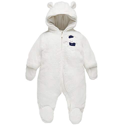 Baby Schneeanzüge Winter Overall mit Kapuze Fleece Strampler Mädchen Jungen Warm Outfits Weiß 6-9 Monate