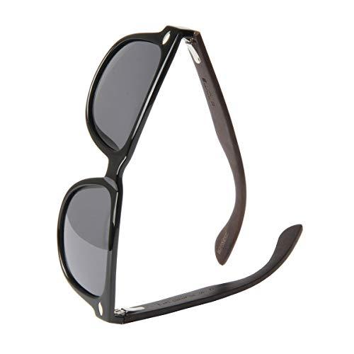 WOLA Sonnenbrille Holz - Bügel ICE eckige Brille starke Brücke polarisierte Holzbrille Damen L Herren M graue Linse