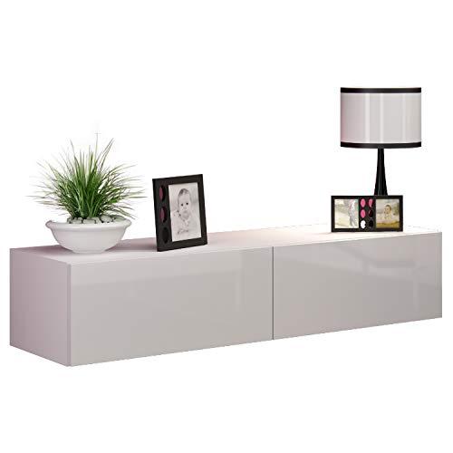 Jadella TV Board Lowboard Migo Hängeschrank Wohnwand (Weiß Matt/Weiß Hochglanz)