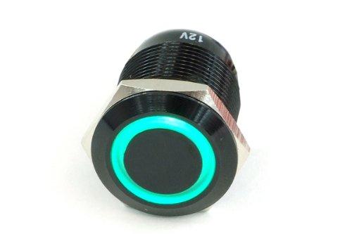 Phobya Vandalismus/Klingeltaster 19mm Aluminium schwarz, grün Ring beleuchtet 6pin Wasserkühlung Überwachung