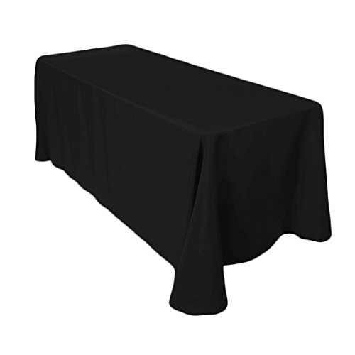 Weddecor bianco rettangolare cotone poliestere tovaglia copertura per matrimonio, cena e festa di compleanno 70 x 144 inches da matrimonio supply - singolo, black