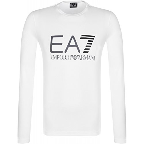 EA7 EMPORIO ARMAN Herren Langarmshirt, Weiß XX-Large