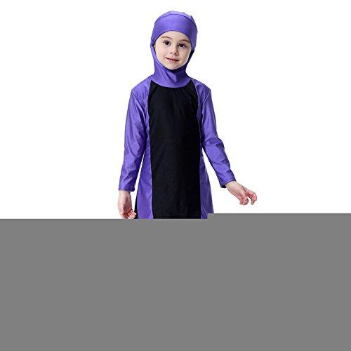 Hougood Mädchen Badeanzug Muslimische Badebekleidung Schwimmen Kostüme Kinder Modest Islamische Hijab Badeanzüge Burkini Langarm Sonnenschutz Bademode Sets Tauchanzüge Farbe Kollision Spleißen Badeanzüge Top mit Hijab + ()