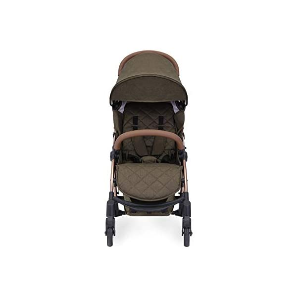Ickle Bubba Globe Prime Baby Stroller | Lightweight and Portable Stroller Pushchair | Folds Slim for Ultra Compact Storage | UPF 50+ Extendable Hood and Baby Carriage Accessories | Khaki/Rose Gold Ickle Bubba ONE-HANDED 3 POSITION SEAT RECLINE: Luxury baby stroller suitable from birth to 15kg-approx. 3 years old; features luxury soft quilted seat liner, footmuff, cupholder, buggy organiser, storage bag and rain cover UPF 50+ RATED ADJUSTABLE HOOD: Includes a peekaboo window to keep an eye on the little one; extendable hood-UPF rated-to protect against the sun's harmful rays and inclement weather ULTRA COMPACT AND LIGHTWEIGHT: Easy to transport, aluminum frame is lightweight and portable-weighs only 6.4kg; folds compact for storage in small places-fits in aeroplane overhead; carry strap and leather shoulder pad included 2