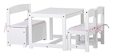 Hoppekids Mathilde Kindersitzgruppe mit Kissenset in hellrot / rosa mit 1 Kindertisch, 2 Kinderstühle und 1 Bank teilmassiv sehr stabil, Holz, weiß , 64 x 74 x 56 cm