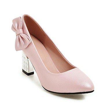 Talloni delle donne Primavera Estate Autunno Inverno Club Scarpe Comfort PU festa di nozze e abito da sera tacco grosso Bowknot Nero Rosa Bianco Pink