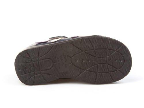 Merceditas pour filles avec pointe renforcée tout cuir, Mod. 666. Chaussure Enfant Made in Spain, garantie de qualité. Bleu Marine