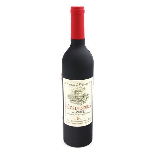 Weinbesteck, Weinzubehör-Set, Ausgießer, Flaschenverschluss, Kellnermesser, Tropfring, Weinflasche, Höhe ca. 32cm