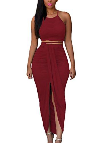 Mujer Conjuntos De Crop Top Y Falda 2 Piezas Verano Elegantes Sin Mangas  Tirantes Blusas Color 5a5710d79416