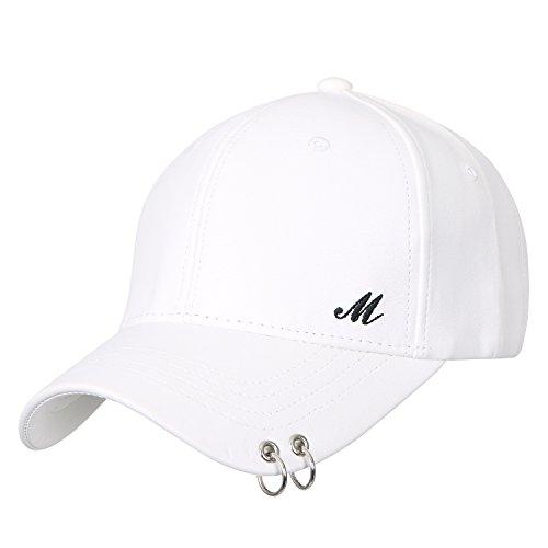 ililily Piercing Barbell Clip Ring Baseball Cap künstliches Leder Schlaufe Trucker Cap Hut , White (White Leder Patent Faux)