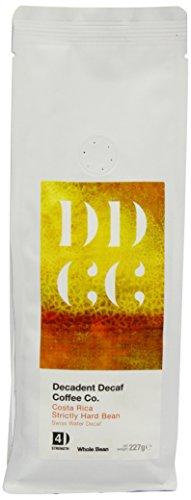 Koffeinfreier Kaffee aus Costa Rica, mittels Schweizer-Wasser-Prozess entkoffeiniert, Decadent Decaf Coffee Company, ganze Bohne, 227g