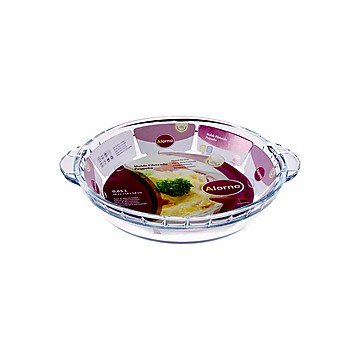 Alorno Alorno Borosilicate Glass, Easy Hands, Fluted Pie Dish, 0.65 Ltr