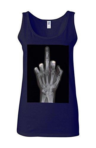 Skeleton Middle Finger Attitude Novelty White Femme Women Tricot de Corps Tank Top Vest Bleu Foncé