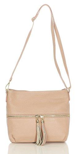 malito Damen Handtasche | Echtleder Umhängetasche | Schultertasche mit Fransen | Henkeltasche - Tasche T100 (rosa) -