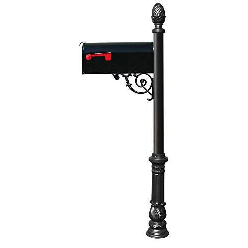 Mailbox-system (Qualarc LPST-703-E1-BL Lewiston Aluminum Post Mailbox System with Support Brace, Economy Mailbox, Mounting Plate, Ornate Base and Pineapple Finial, Black by Qualarc)