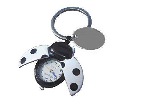 personnalisé gravé Blanc Coccinelle montre Porte-clés en velours noir Pochette cadeau Ref – O24-wht-k