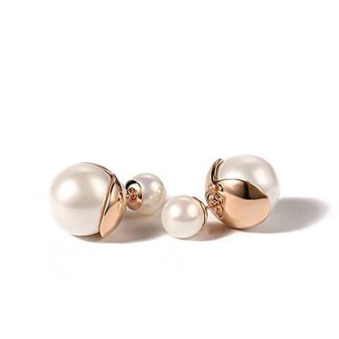 Boucles d'oreilles argent/ qualité faux Pearl boucles d'oreilles/ bijoux de mode recto-verso oreille-B
