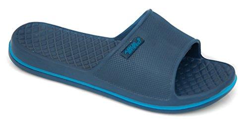 Aqua Speed CORDOBA Badelatschen Poolschuhe Gr. 30-44 (Badeschlappen Latschen Schwimmbad Pool Meer + UP®-Aufkleber), Farbe:Navy - Blau;Schuhgröße:42