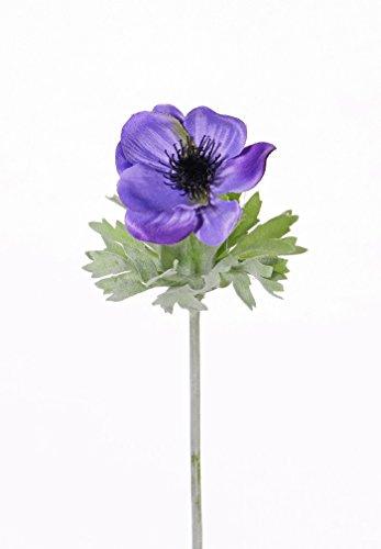 artplants Set 12 x Künstliche Anemone FILIZ, dunkellila, 30 cm, Ø 7 cm – Deko Windröschen/Kunstblume