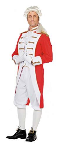Karneval-Klamotten Garde Kostüm Männer Garde Kostüme Herren rot weiß mit Gold Garde Offizier Gardist Größe ()