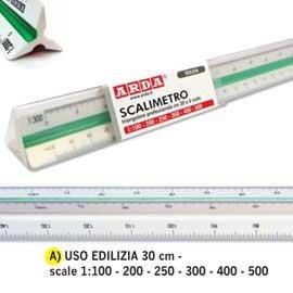 Arda Dreikantmaßstab isoteck Arda 30cm für Bauwesen (Scale 1: 100–200–250–300–400–500)
