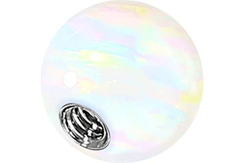 PIERCINGLINE Synthetischer Opal Schraubkugel mit Chirurgenstahl-Gewinde 1,2 mm weiß 4 mm Kugel (Opal Tragus Piercings)
