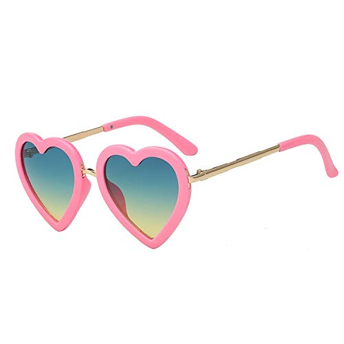 Sport-Sonnenbrillen, Vintage Sonnenbrillen, Children Kids Sunglasses Fashion Heart Shaped Cute UV400 Designer Frame Eyewear Baby Girls Sunglasses Sun Glasses Pink w green yellow