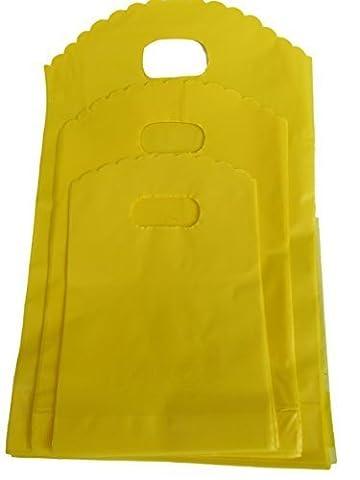 Emballage de 100 uni couleurs vives: bleu, rose ou jaune mode plastique magasin, marché, sac de courses cadeau présent sac de soirée, 3 tailles : 13cmx12cm, 17cmx15cm ou 21cmx18cm