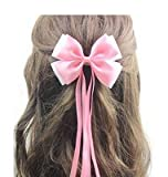 #6: Angel Closet Bow and Ribbons Hair Clip for Girls - Pink & White