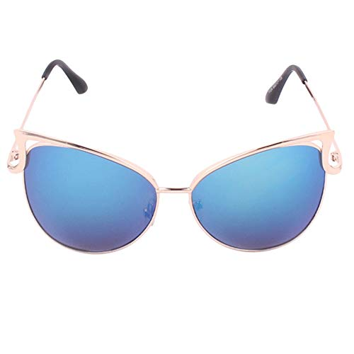 Yutongyi Außenpartei Damen Sonnenbrillen Metallrahmen Cat Eye Spiegel Brille Übergroße Brillen UV400 Schutz Durchschauen (Color : Blau)