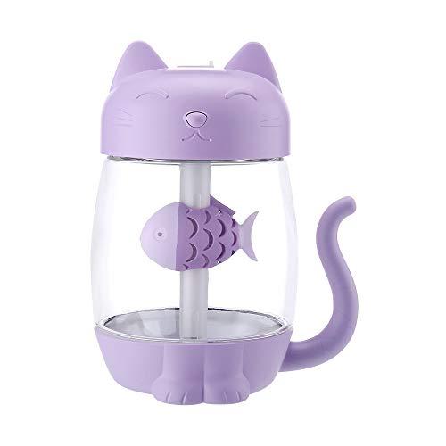 HCFKJ Befeuchter, 3 In 1 Luftbefeuchter Nette Katze Luftbefeuchter Luftfächer Diffusor Luftreiniger Zerstäuber (PP)