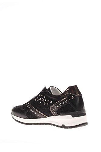 Nero Giardini Damen Sneaker p615095d-100Sneaker Leder und Makramee mit Nieten Schwarz