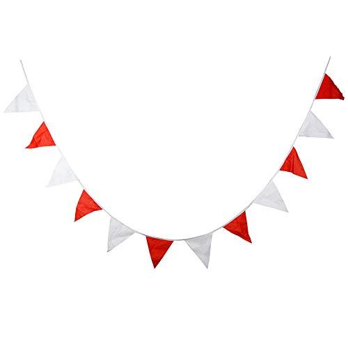 Nikgic Wimpel Bunting Farbenfroh Wimpel Wimpeln Wimpelkette Fahnen Banner Rotes und weißes Baumwolltuch 12 Gesichter 3,7 m Fahne Ziehen (Halloween Und Roten Malen Gesicht Weißen)