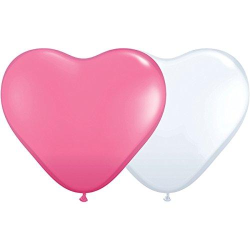 partydiscount24 10 Riesen-Herzballons Rosa & Weiß Ø 40 cm - Bestseller