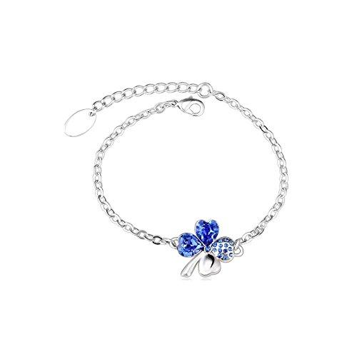 yparah-Bracciale quadrifoglio blu in cristallo di Swarovski-Donna