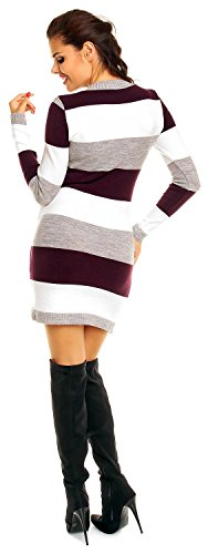 Zeta Ville Damen Umstands Blockfarben Strickkleid Streifen Pulloverkleid - 405c Lila