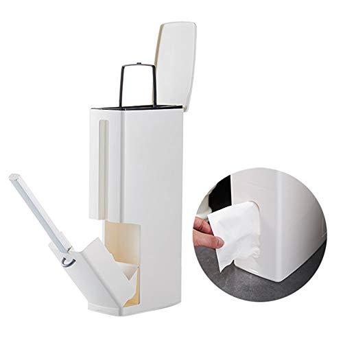 Toilettenbürste und Abfallbehälter Set, Bad Wc Halter Bürste mit Biegung Multifunktions 4 In 1 2L Mülleimer und Toilettenbürste und Halter Set Tissue Box für Badezimmer (Weiß)