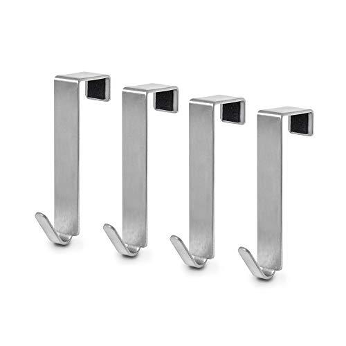MDCASA Türhaken Edelstahl gebürstet für Innentür - 4 Stück - Kleiderhaken über Tür - Fensterhaken Deko - Garderoben-Haken - Handtuchhalter - 76x15x20mm