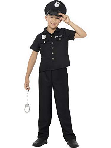 Luxuspiraten - Jungen Kinder New York Cop Polizei Polizist Kostüm Hemd Hose und Mütze, perfekt für Karneval, Fasching und Fastnacht, 158-170, Schwarz (Polizist Halloween Kostüm Kleinkind)