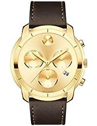 Movado Men's Bold 44mm Leather Band IP Steel Case Swiss Quartz Watch 3600477