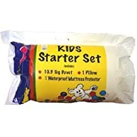 Kids Starter Sets Value Bundle Single 10.5 Tog Duvet + Pillow + Pillow Protector + Mattress Protector All In Polypropylene