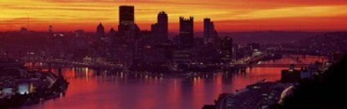 County Pittsburgh Pennsylvania (The Poster Corp Panoramic Images - Silhouette of buildings at dawn Three Rivers Stadium Pittsburgh Allegheny County Pennsylvania USA Photo Print (91,44 x 30,48 cm))