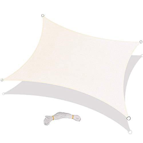 Happyshop UV-Schutz Sonnensegel rechteckig Sonnenschutz für Outdoor Terrasse Garten - Weißen Baldachin Kit
