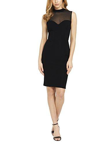 Lipsy Damen Ärmelloses Kleid Hoch Geschlossen Mesh Detail Normale Passform Schwarz 44 (Seide Rollkragen Jersey)