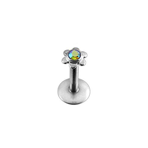 Regenbogenstein Crystal Flower Push-Fit Top 16 Gauge - 8MM Länge 316L chirurgischer Stahl Madonna Lippe Labret Tragus Bar Piercing